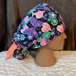 ponytail scrub hat with pink hearts and purple butterflies