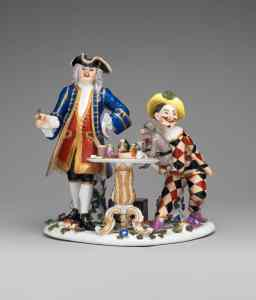 Quack doctor, harlequin and monkey. Johann Joachim Kändler for Meissen, c. 1745. Quack doctor, harlequin and monkey. Johann Joachim Kändler for Meissen, c. 1745.Quack doctor, harlequin and monkey.