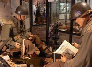 Original objects were used to create this scene of American GIs. Photo: Courtesy of Musée Mémorial des Combats de la Poche de Colmar.