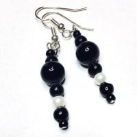 Black and white bead earrings, vintage black beads