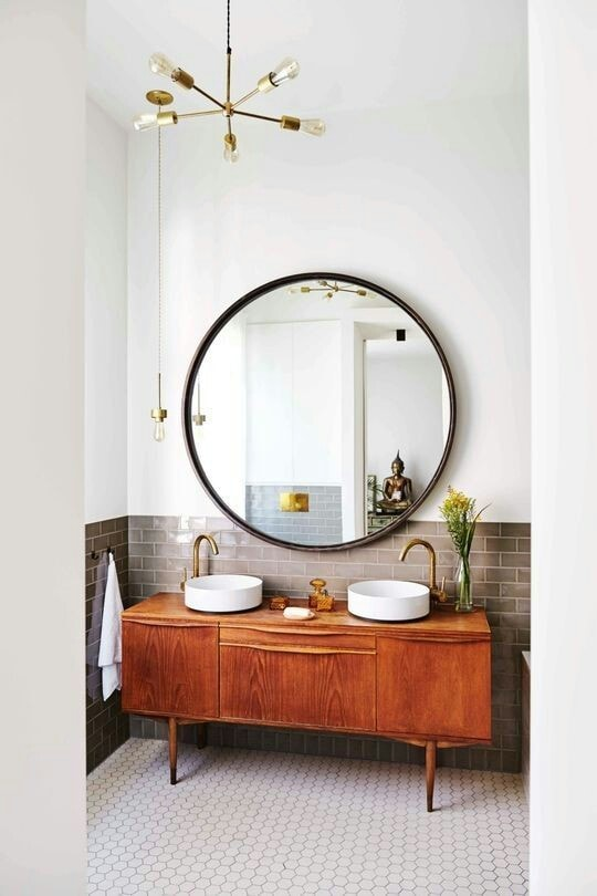 bathroom vanity round mirror