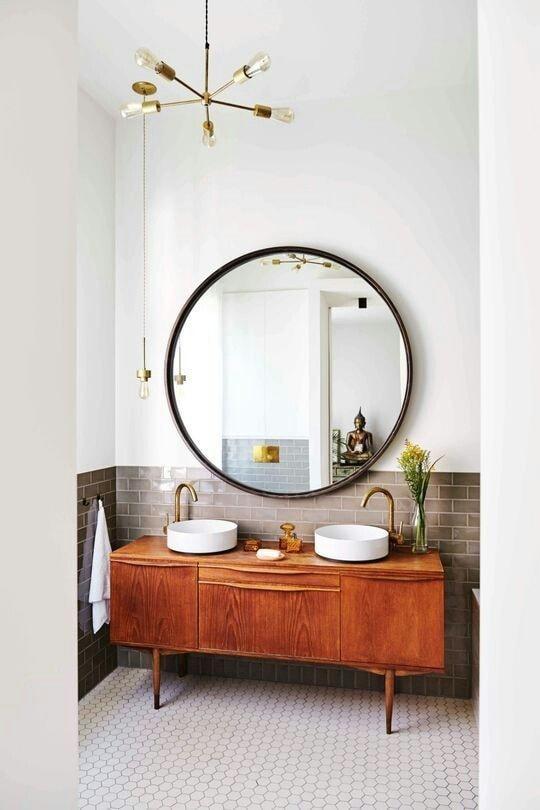 bathroom vanity round mirror