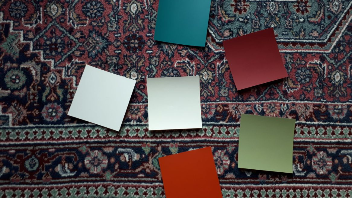 colour swatches on carpet