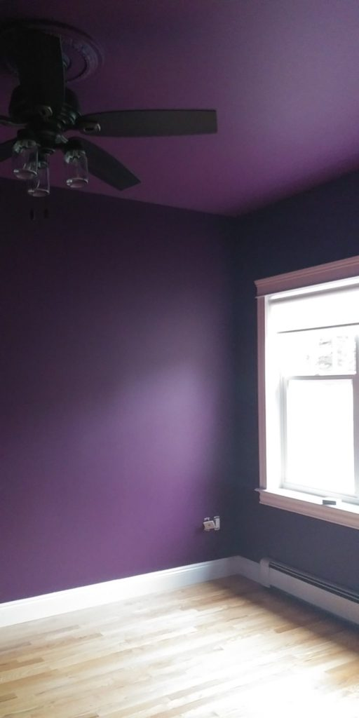 Purple Library painting in progress - Deborah Nicholson