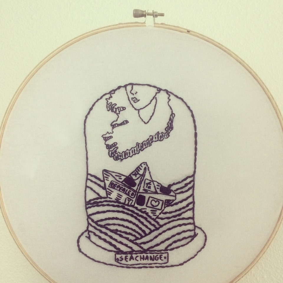 Abortion activism embroidery piece