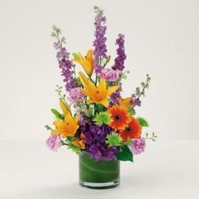 DF 2 VASE OF STUNNING BRIGHT FLOWERS