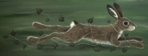 She ran free, wrapped in Wildness - running hare painting