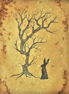 tea stained hare drawing (solitude)