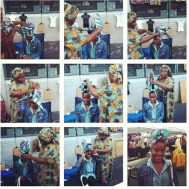 Numa feira em Nova York aprendendo a fazer um turbante com quem melhor uma senhora da Jamaica!