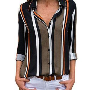 CICIYONER Mujer Blusa Camisa con Botones Cuello En V Camiseta de Mangas Largas (M, aNegro)