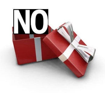 The word NO in a gift box