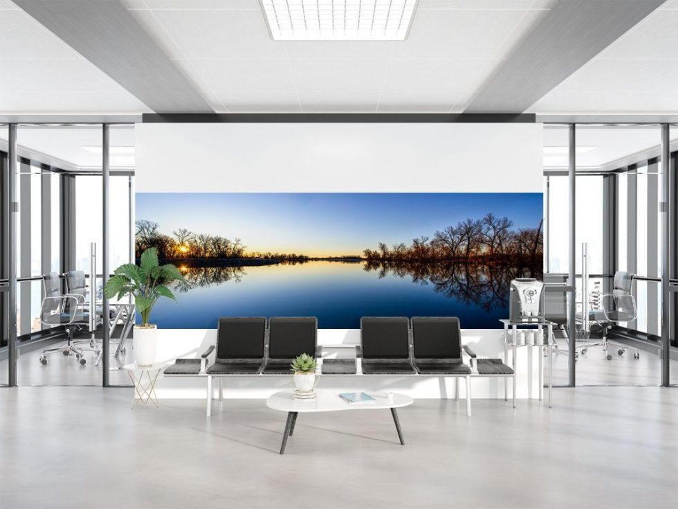 interior designers blue trees water reflection wall art