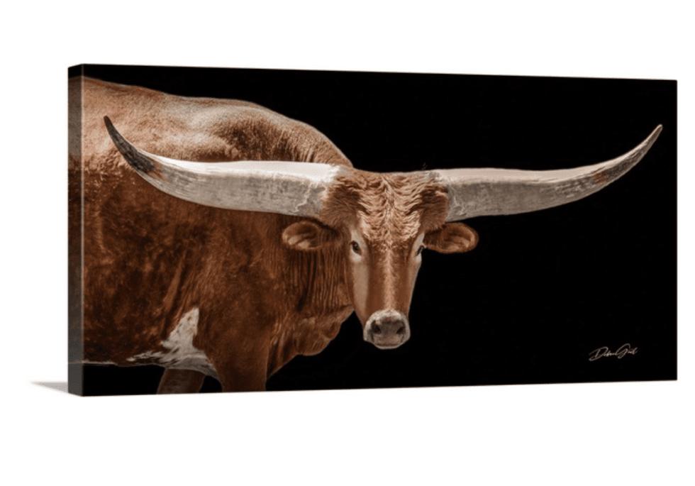 canvas panoramic texas longhorn wall art rustic ranch home furnishing lorec type oklahoma kansas great plains