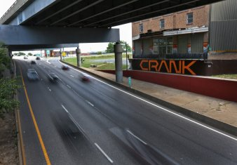 A view from below. This is the Crank sign most travelers speed past.
