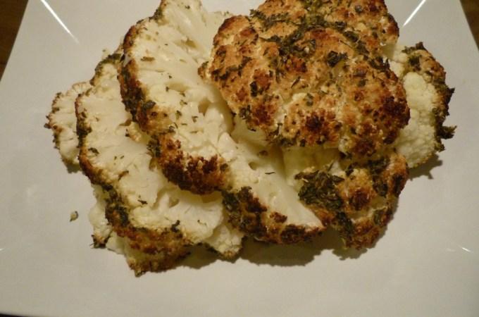 Whole Roasted Herb Rubbed Cauliflower