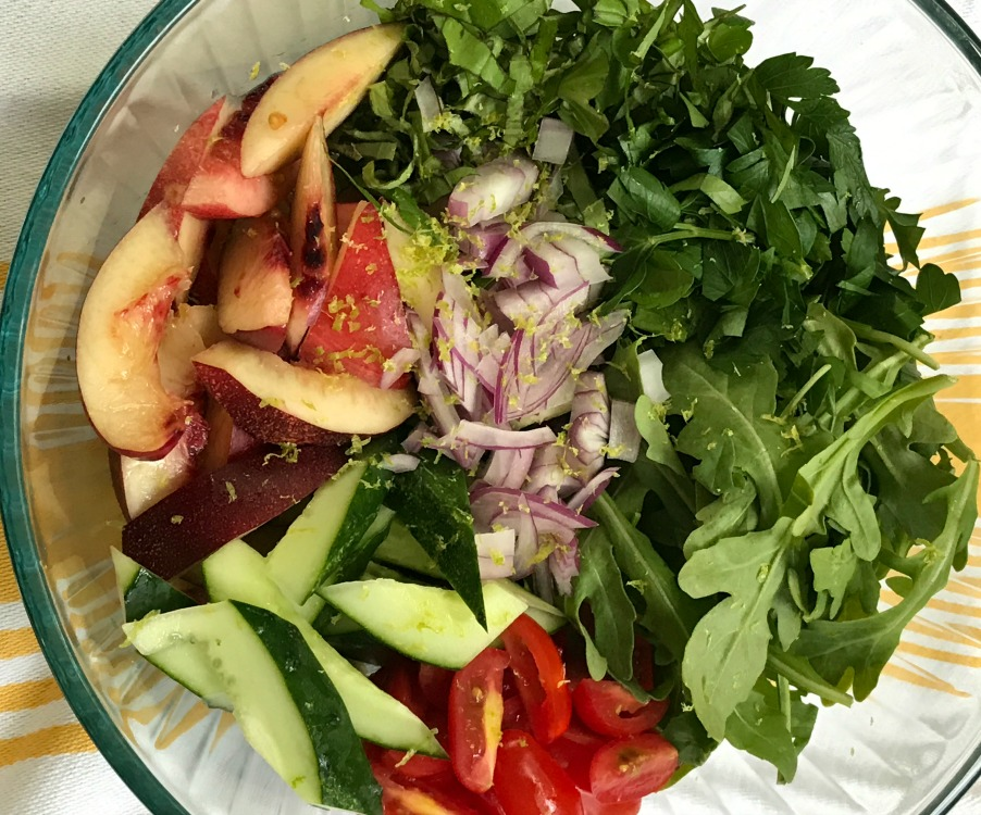 Nectarine Salad with fresh herbs, greens and veggies