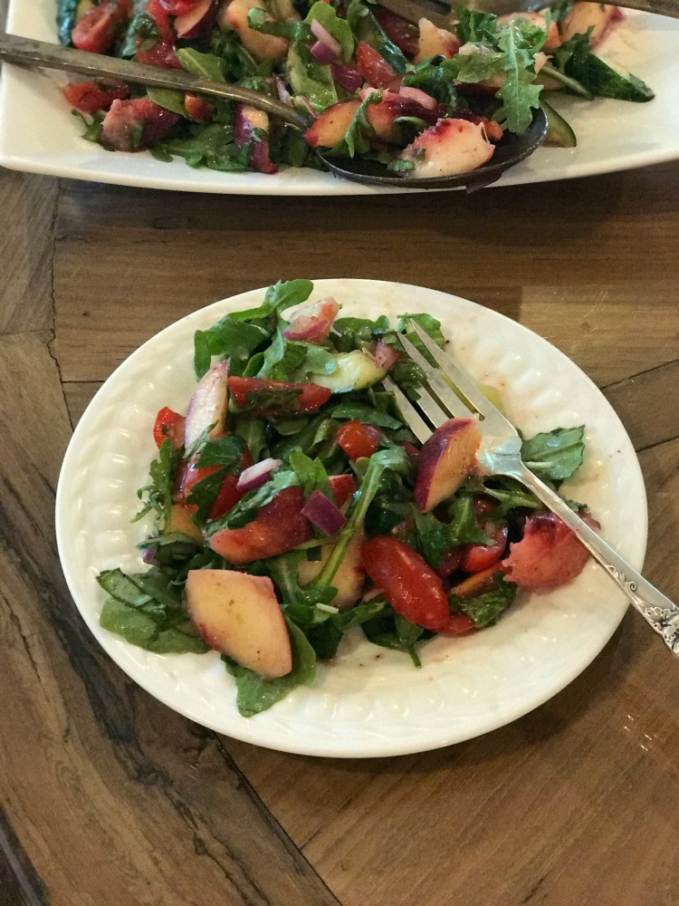 Nectarine Salad with Sumac, fresh herbs and arugula