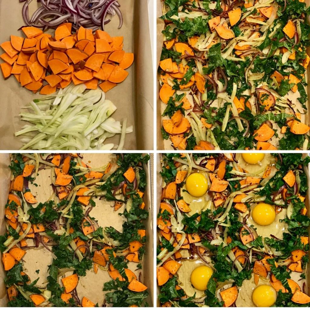 Sheet Pan Veggie Hash + Eggs Collage