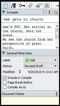 Scrivener Inspector, tracking the time line