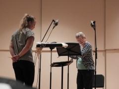 "Ann Donner recording ""Italian Dance Suite"" for unaccompanied flute."