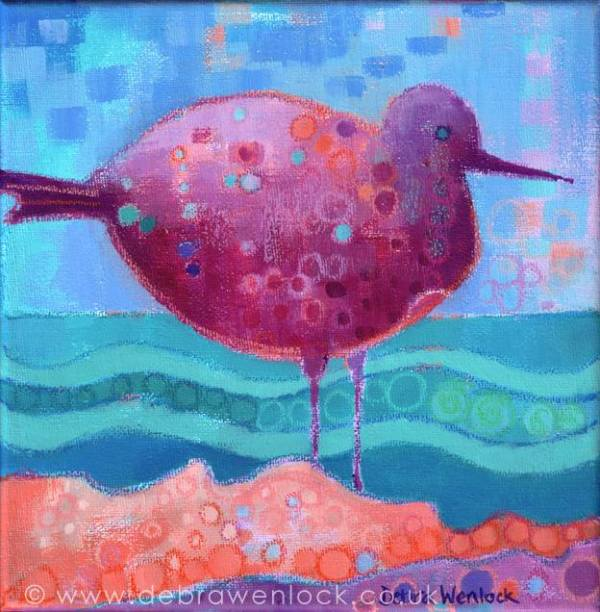 Fantasy Sea Bird, oil pastel & acrylic painting by Debra Wenlock