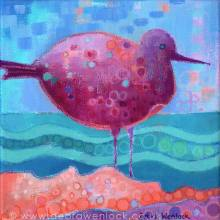 Fantasy Sea Bird, oil pastel & acrylic painting by Debra Wenlock