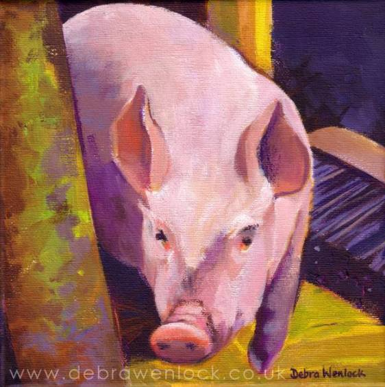 """This Little Piggy"" Acrylic Painting by Debra Wenlock"