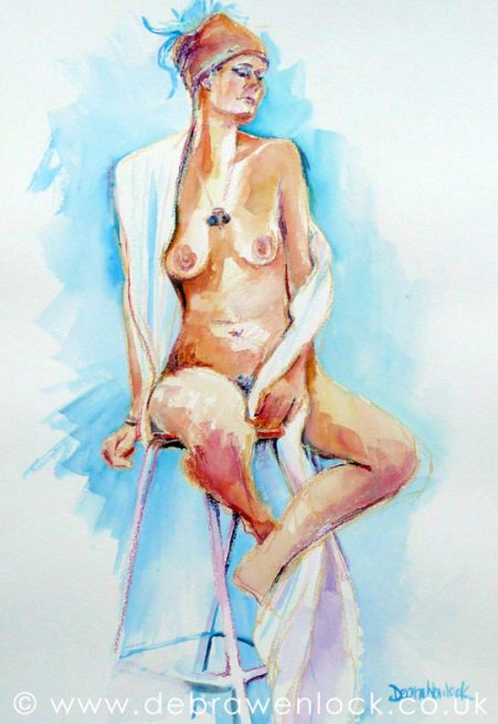 Skye - nude painting in watercolour - Debra Wenlock