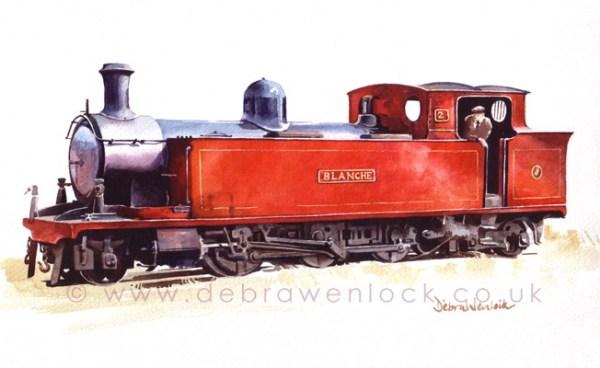 """Blanche"" Donegal tank loco, CDR tank locomotive, watercolour by Debra Wenlock"