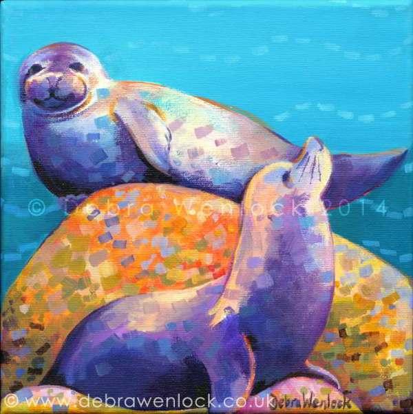 """Seals painting """"Flipperlings"""" in acrylic by Debra Wenlock"""