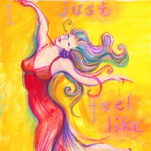 I just feel like Dancing painting by Debra Wenlock, crop