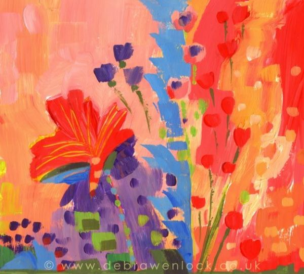 Violet and Vermillion abstract flowers painting in acrylic by Debra Wenlock