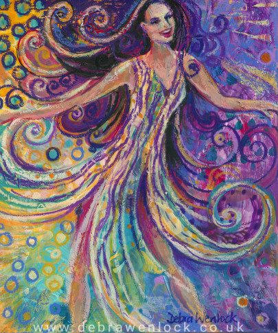 Wild Dancing Woman, acrylic painting by Debra Wenlock