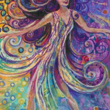 Wild Dancing Woman, acrylic painting by Debra Wenlock