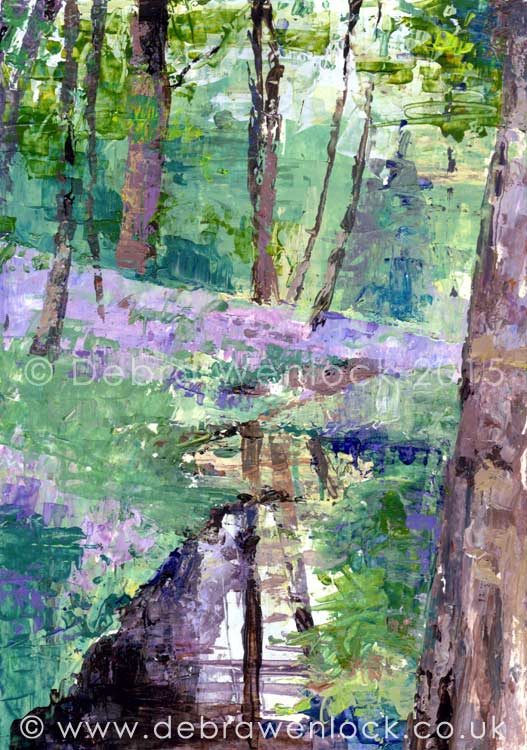 Reflections and Bluebells, acrylic painting by Debra Wenlock