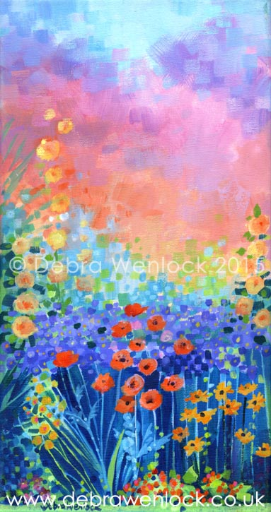 Hollyhocks and Poppies acrylic painting by Debra Wenlock