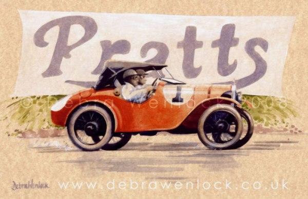 Austin Seven Ulster 1928 Ards TT, watercolour by Debra Wenlock