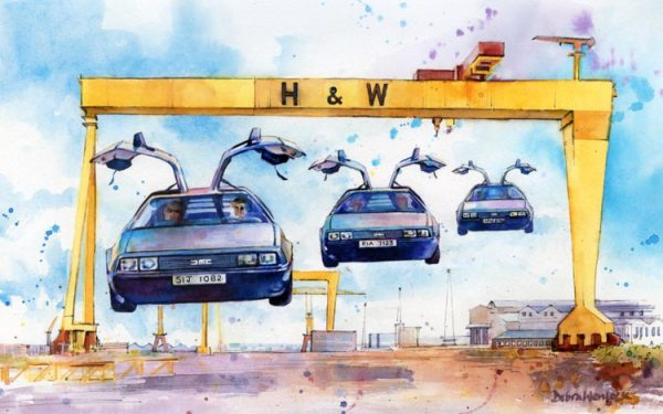 Back to Belfast DeLorean Print by Debra Wenlock