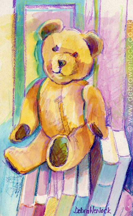 Big Ted with Books - mixed media teddy painting, toy portrait by Debra Wenlock