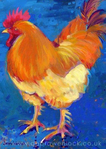 Rampant Rooster acrylic painting, Debra Wenlock