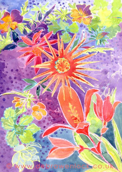 "Garden Flowers, ""Garden Sparkle"" wax and watercolour painting by Debra Wenlock"