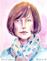 Debra Wenlock Self Portrait, Wax & Watercolour
