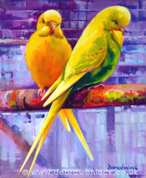 Budgerig painting by Debra Wenlock