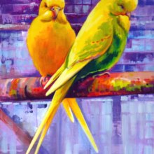 Budgerigars painting by Debra Wenlock