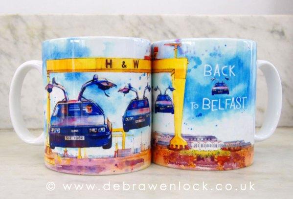 Flying DeLorean Mug by Debra Wenlock