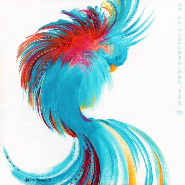 Oiseau Bleu, fantasy bird painting by Debra Wenlock