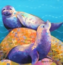 """Flipperlings"" - seals painting by Debra Wenlock"