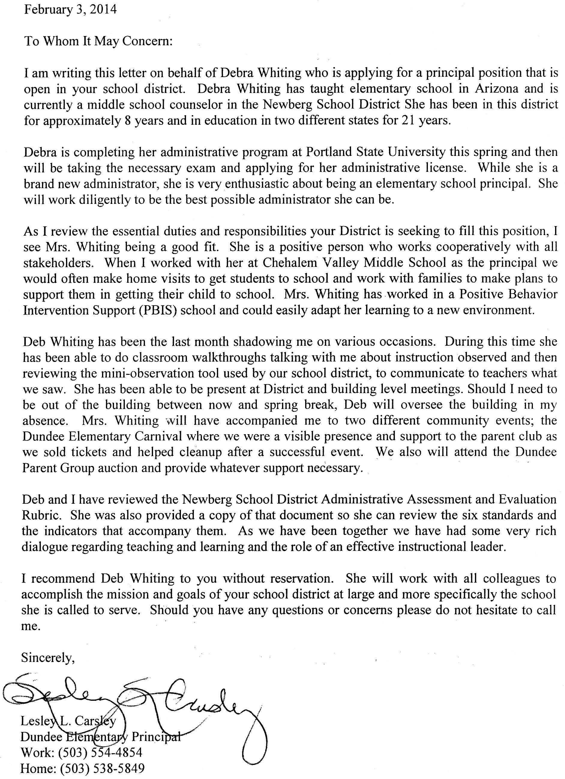 Reference Letter For School Principal Position   Best   Resume   Samples