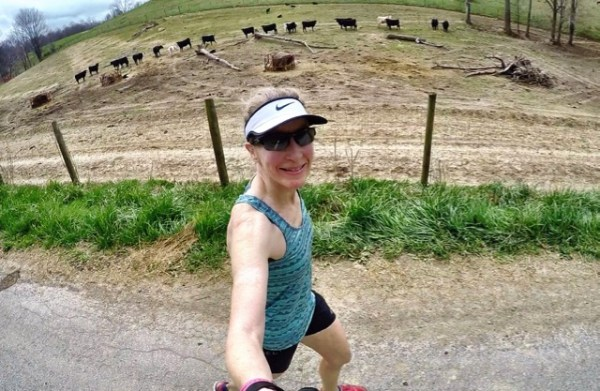RunningSelfieWithCowsEating