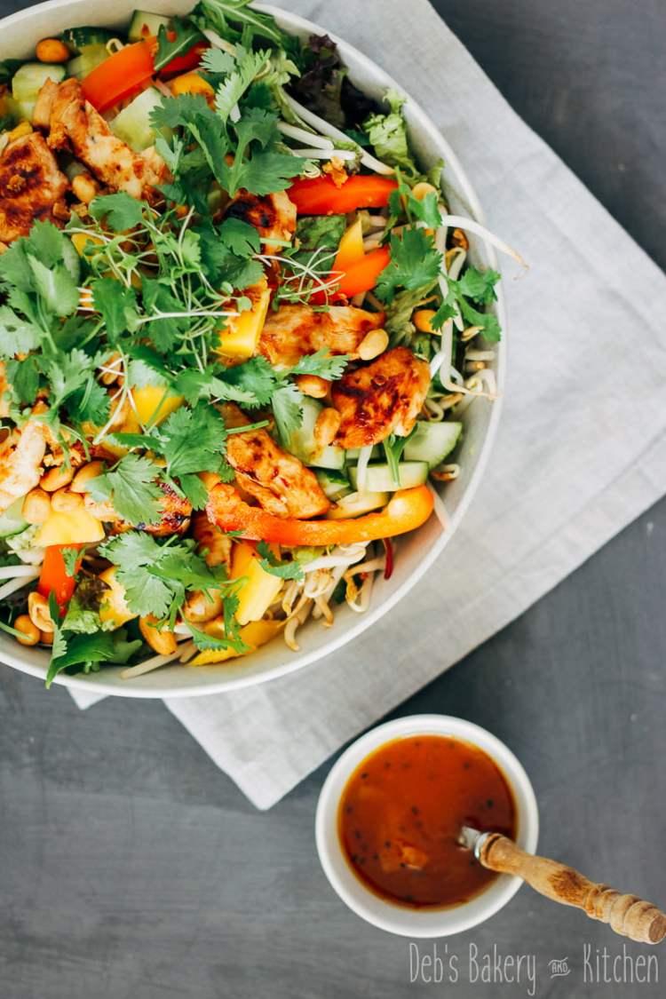zomerse salade met kip en mango